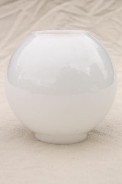 vintage milk glass globe lamp shade, round open ended lampshade mini size