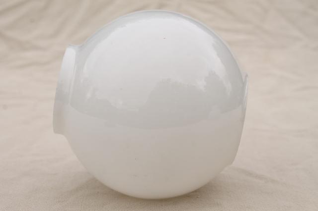 Vintage Milk Glass Globe Lamp Shade Round Open Ended