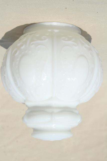 Vintage Milk Glass Globe Shade Embossed Pressed Glass