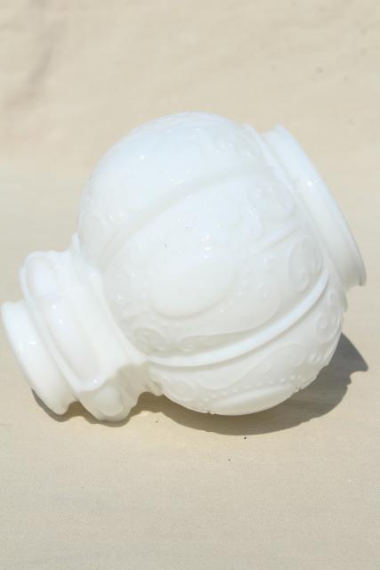 Vintage Milk Glass Globe Shade Embossed Pressed Glass