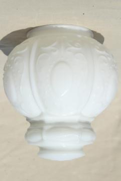 vintage milk glass globe shade, embossed pressed glass shade for antique ceiling light fixture