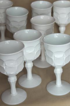 vintage milk glass goblets, Indiana Constellation wine glasses or tall candle holders