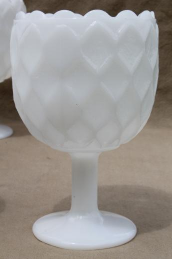 Vintage Milk Glass Goblets Large Ivy Vases Or Wine Glasses Hoffman House Style