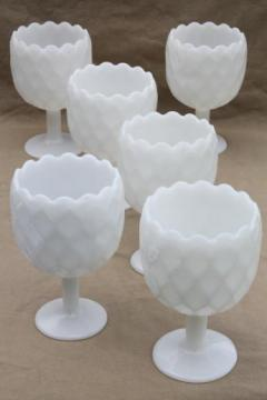 vintage milk glass goblets, large ivy vases or wine glasses, hoffman house style