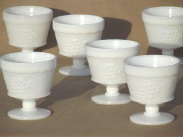 vintage milk glass grape pattern sherbets set, Hazel Atlas kitchen glass?