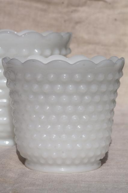 vintage milk glass hobnail dot dash Anchor Hocking flower pot planters collection