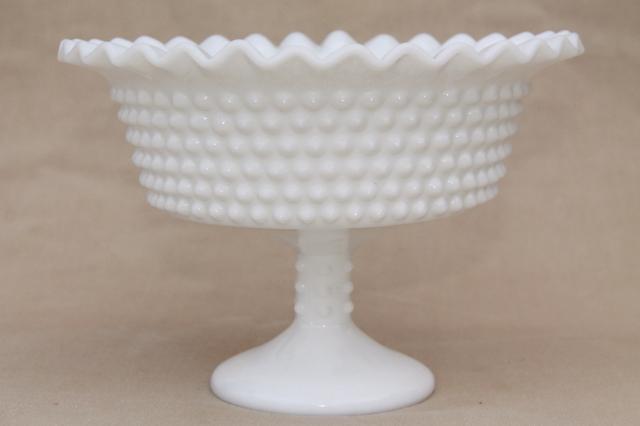 Vintage Milk Glass Hobnail Pattern Compote Pedestal Bowl