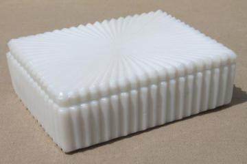 vintage milk glass jewelry box or cigarette box for art deco vanity table
