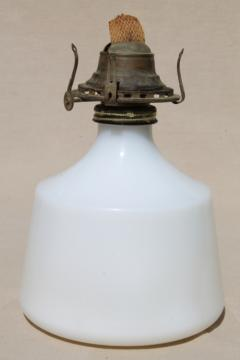 vintage milk glass kerosene oil lamp w/ old Queen Anne burner