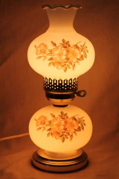 vintage milk glass lamp w/ roses shade, gone with the wind style little boudoir light