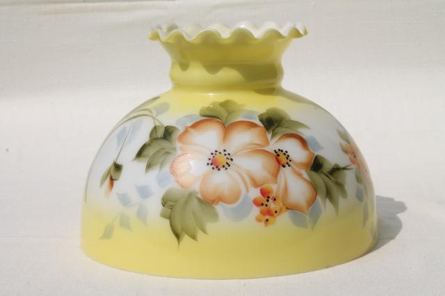 Vintage Milk Glass Lamp Shade W/ Hand Painted Flowers, Golden Yellow Amber  Harvest Colors