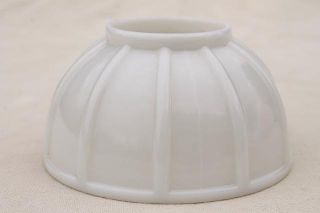vintage milk glass lamp shade, ribbed helmet dome shaped lampshade mini size