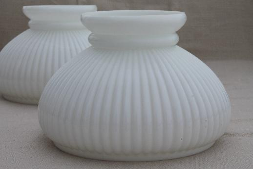 Vintage milk glass lamp shades for student lamp matched pair ribbed vintage milk glass lamp shades for student lamp matched pair ribbed glass shades aloadofball Image collections