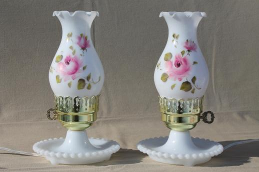 Vintage Milk Glass Lamps W Hand Painted Hurricane Shades