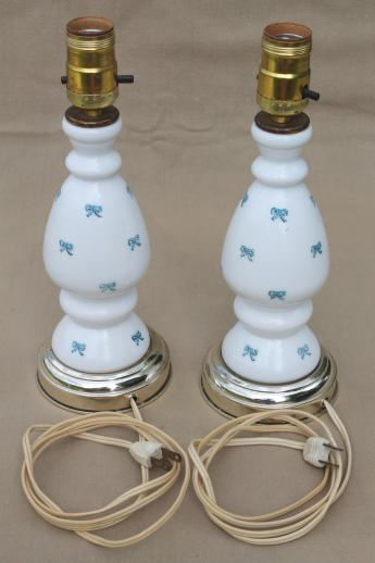 vintage milk glass lamps, pair of hand-painted boudoir lamps w/ tiny blue bows