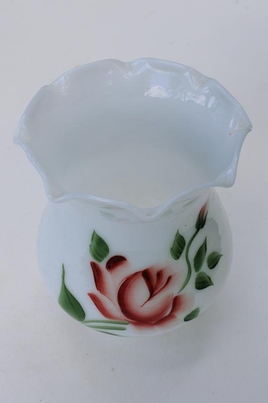 vintage milk glass lampshade w/ hand painted pink rose, hurricane chimney shade