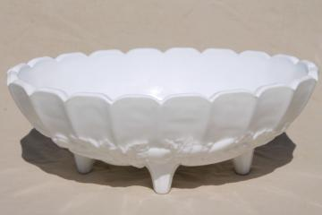 vintage milk glass, large heavy oval fruit bowl Indiana glass garland pattern