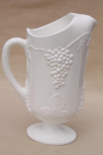 Vintage Milk Glass Lemonade Set Opaque White Grape