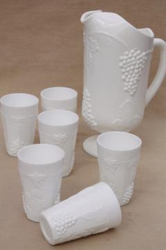 vintage milk glass lemonade set, opaque white grape pitcher & tumbler drinking glasses