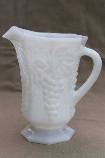Vintage Milk Glass Lot Anchor Hocking Grapes Pattern Glass Bowls Planters Vases Pitcher