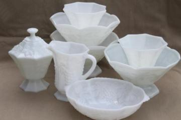 vintage milk glass lot - Anchor Hocking grapes pattern glass bowls, planters, vases, pitcher