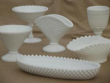 vintage milk glass lot Westmoreland English hobnail pattern tray, vases etc.