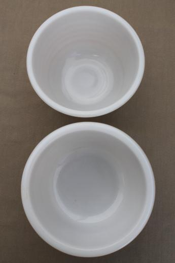 vintage milk glass mixing bowls, retro 50s kitchen glass bowls for electric mixer
