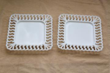 vintage milk glass open lace edge border square trays or plates, Westmoreland S scroll