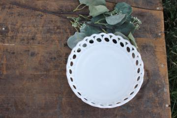 vintage milk glass open lace edge bowl, peacock feather scalloped border