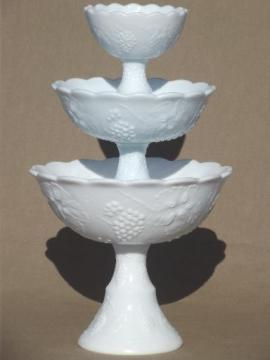 vintage milk glass pedestal bowls in tiered sizes for trio set or tower