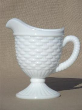 vintage milk glass pitcher, Imperial basket weave pattern glass milk pitcher