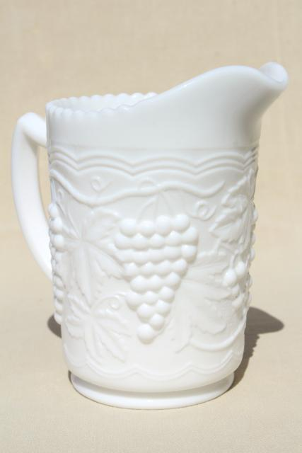 vintage milk glass pitcher w/ grapes & swags, Imperial grape pattern pressed glass