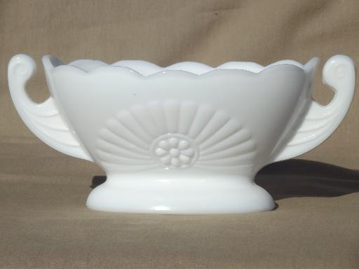 Vintage Milk Glass Planter Vase Double Handled Bowl W Deco Starburst