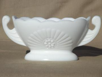 vintage milk glass planter vase, double handled bowl w/ deco starburst