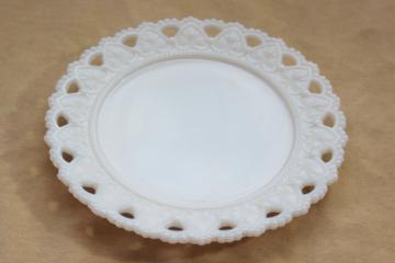 vintage milk glass plate, Valentine or wedding hearts Kemple lacy heart open lace border