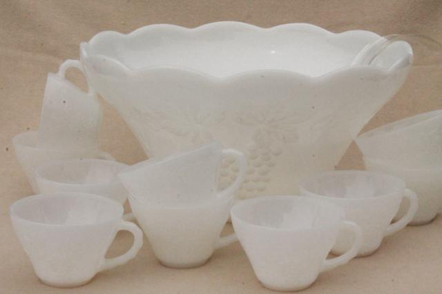 Vintage Milk Glass Punch Bowl Cups Set Anchor Hocking Harvest