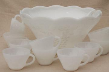 vintage milk glass punch bowl & cups set, Anchor Hocking harvest grapes pattern