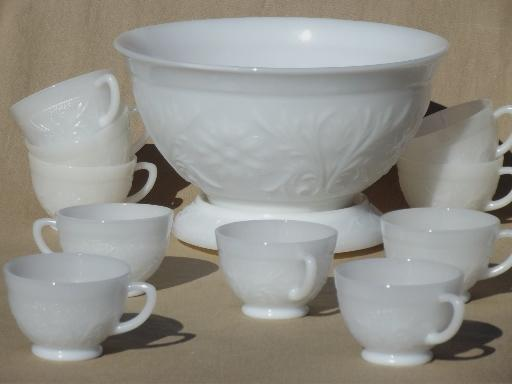 Vintage Milk Glass Punch Bowl Amp Cups Set Anchor Hocking
