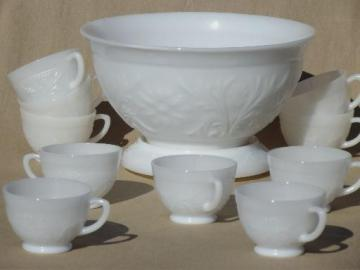 vintage milk glass punch bowl & cups set, Anchor Hocking sandwich pattern glass