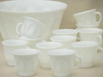 vintage milk glass punch bowl & cups set, thumbprint ovals pattern glass