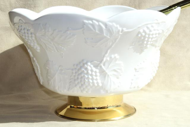 Vintage Milk Glass Punch Set Huge Bowl Cups Colony Grapes Indiana