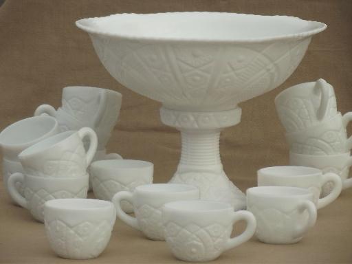 Vintage Milk Glass Punch Set Large Punch Bowl Pedestal
