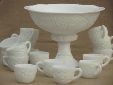 vintage milk glass punch set, large punch bowl, pedestal stand & 16 cups