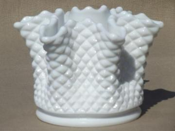 vintage milk glass rose bowl, Westmoreland English hobnail handkerchief vase