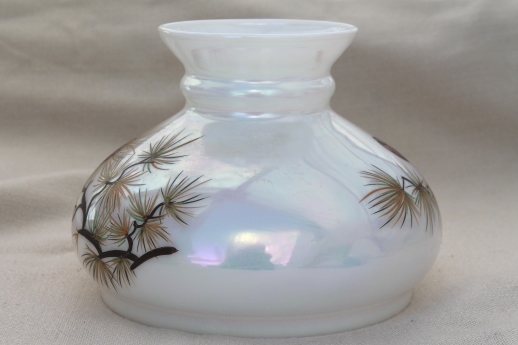 vintage milk glass shade for a hurricane lamp, rustic cabin oil lamp shade w/ pinecones