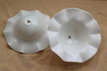 vintage milk glass shades w/ crimped smoke bell shape for antique hanging lights