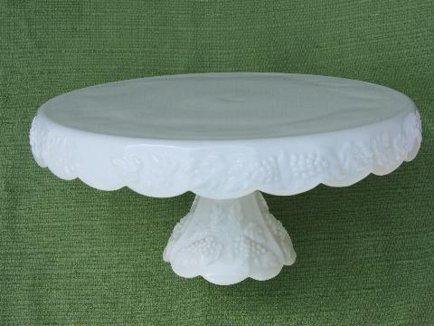 Vintage Milk Glass Skirted Cake Stand Westmoreland