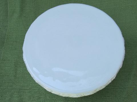 vintage milk glass skirted cake stand, Westmoreland paneled grape