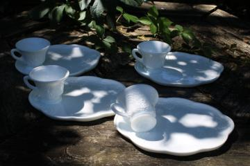 vintage milk glass snack sets, tray plates w/ cups Indiana harvest grapes pattern