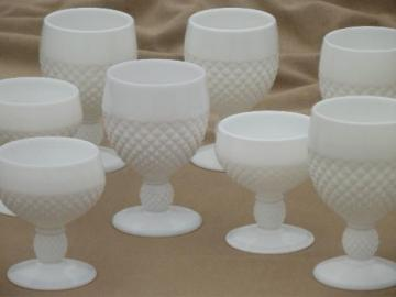 vintage milk glass stemware Westmoreland English hobnail goblets, wine glasses